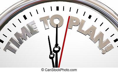 doel, klok, illustratie, strategie, plan, plan, tijd, 3d
