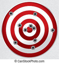 doel, kogel slaat een gat in, geweer, verbreidingsgebied,...