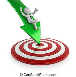 doel, mensen, -, kleine, bereiken, 3d