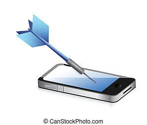 doel, mobiele communicatiemiddelen, illustratie, ontwerp