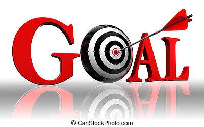 doel, rood, woord, en, conceptueel, doel