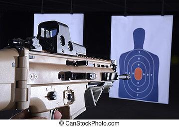 doel, spits, geweer, machine, verbreidingsgebied, bullseye