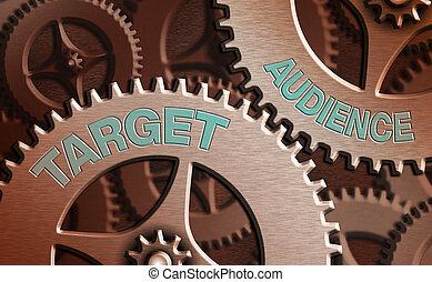 doel, tekst, meldingsbord, het tonen, conceptueel, foto, meest, interested., groep, consumenten, intended, zijn, audience., waarschijnlijk