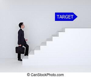 doel, zakelijk, op, het schrijden, trap, man