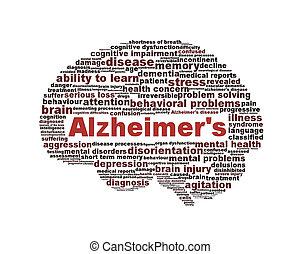 doença alzheimer, símbolo, isolado, branco