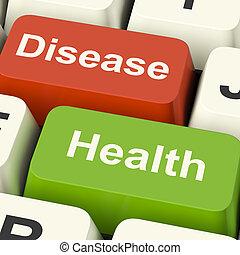doença, e, saúde, teclas computador, mostrando, online, cuidados de saúde, ou, tratamentos