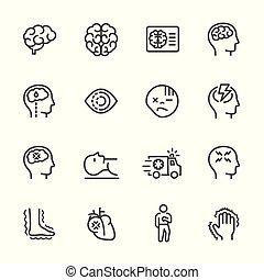 doença, jogo, simples, apoplexia, vetorial, linha, icon., ícone