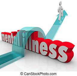 doença mental, uma pessoa, superar, doença, desordem
