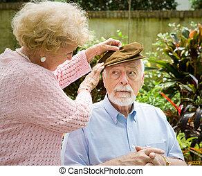 doença, rosto, alzheimers