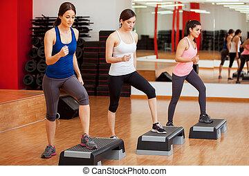 doen, enig, stap aerobics