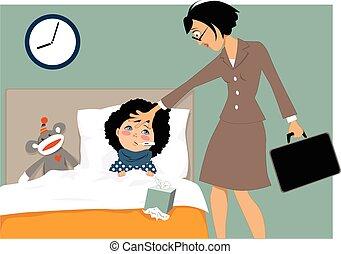 doente, criança, e, dela, mãe