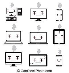 doente, desktop, caderno, esperto, telefones, ícone computador, jogo