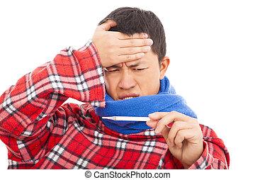 doente, homem jovem, medindo, febre, temperatura, com, termômetro