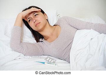 doente, mulher, cama, com, gelado, e, gripe