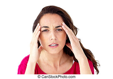doente, mulher hispânica, tendo, um, dor de cabeça
