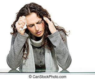 doente, woman., flu., mulher, apanhou uma constipação