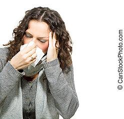 doente, woman., flu., mulher, pegado, cold., espirrando, em, tecido