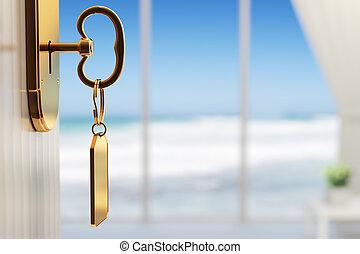dof), 偉人, 部屋, (3d, 浅い, -, 休暇の海洋, 始めなさい, render, 光景