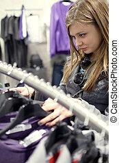 dof), 買い物, boutique/fashion, (shallow, ティーネージャー, かなり, shop/store, 衣服