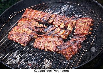 dof), gril, porc, côtes, (shallow, grillé, barbecue