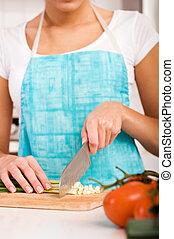 dof), kvinna, grönsaken, nymodig, (shallow, klippande, kök