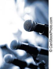 dof), mikrofon, abstrakcyjny, (shallow, zamazane tło