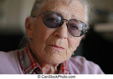 dof., peu profond, portrait, femme, close-up., personne agee