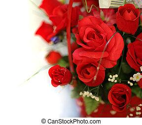 dof., roses, bouquet, peu profond, isolé, arrière-plan., ...