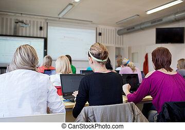 dof), séance, étudiants, ordinateurs portables, (shallow, classe, collège, utilisation, pendant, classe