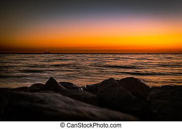 d.o.f., zachód słońca seascape, płytki