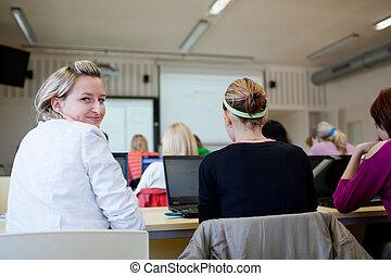 dof), zittende , scholieren, laptop computers, (shallow, klaslokaal, universiteit, gebruik, gedurende, stand