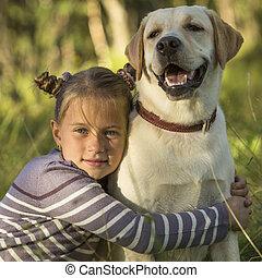 dog., かわいい, 女の子