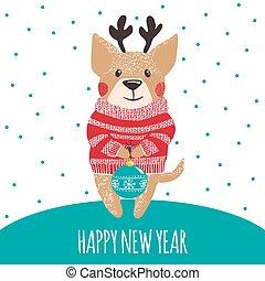 dog., かわいい, 挨拶, 年, 新しい, カード