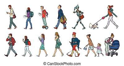 dog., セット, 人々, 歩行者, walk., 男性, ロボット, コレクション, 女性