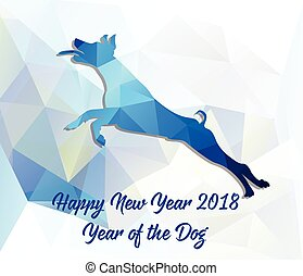 dog., 中国語, 2018, 年, 新しい, カード, 幸せ
