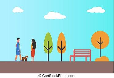 dog., 女, ペット, 公園, 目覚めること, 秋, 人