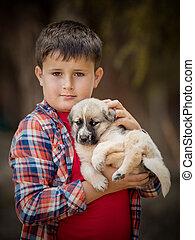dog., 男の子, わずかしか, クローズアップ, 保有物, 肖像画, ハンサム