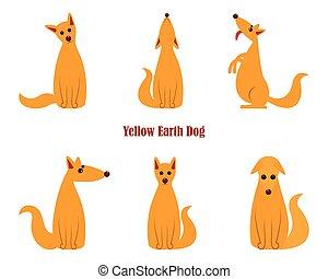 dog., 羊飼い, 中国語, モデル, ドイツ語, シンボル, 後部, 一致, 黄色の犬, 年, ペット, 監視, 2018, legs., 年, 地球, カレンダー, 新しい, 多角形, スタイル
