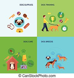 Dog 4 flat icons square banner
