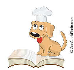 dog a cook sits on an open book, vector illustration