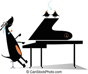 Dog a pianist - Comic dog plays music by piano and birds...