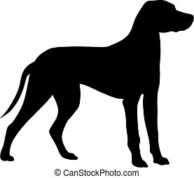 Dog - Abstract vector illustration of hunting dog silhouette