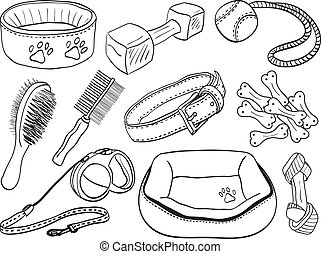 Dog accessories - pet equipment hand-drawn illustration, sketch style