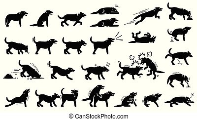 Dog actions, reactions, postures, and body languages cliparts.