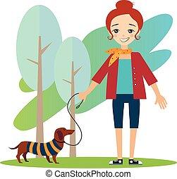 dog., activiteiten, wandelende, women., alledaags, vector, illustratie, routine