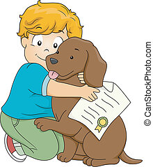 Dog Adoption Certificate - Illustration of a Boy Hugging His...