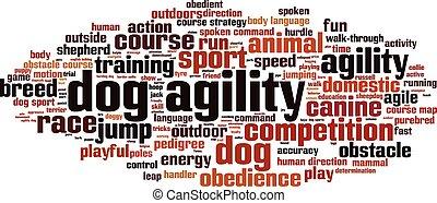 Dog agility-horizon - Dog agility word cloud concept. Vector...