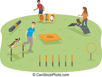 Dog Agility Test - Illustration of Pet Owners Testing Their...