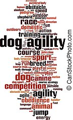 Dog agility-vertical.eps - Dog agility word cloud concept....