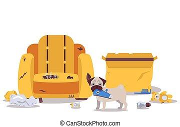 Dog alone at home destroys room furniture vector illustration